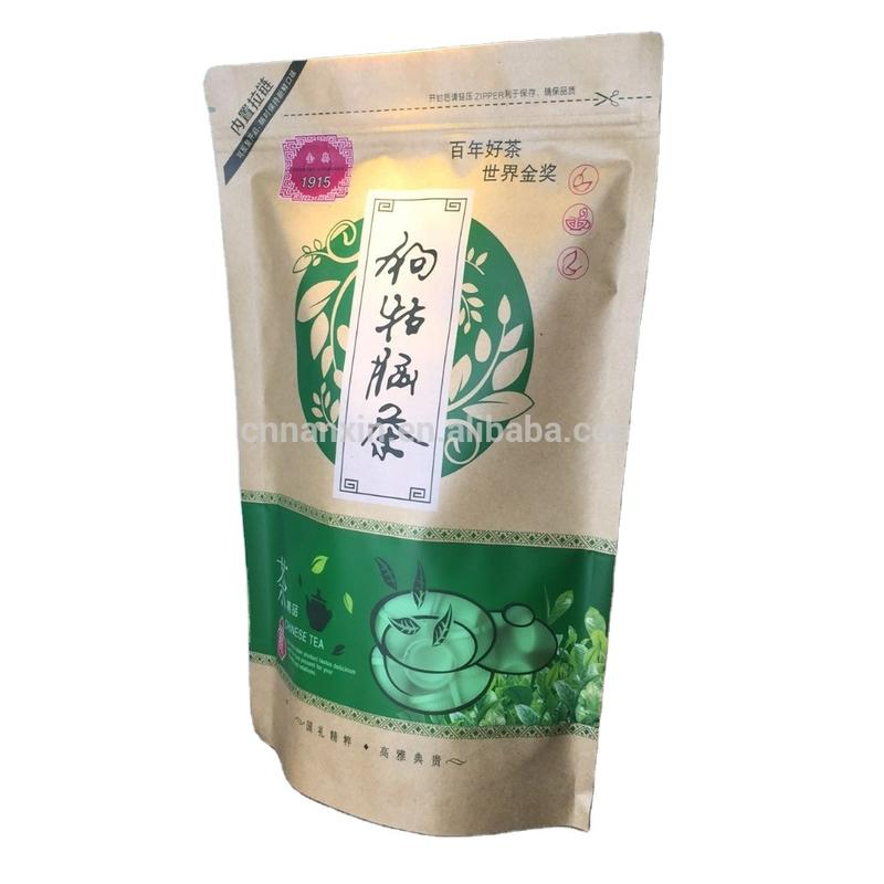customized printing brown kraft paper bag for tea with zipper