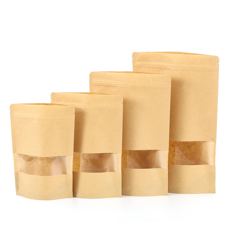 Eco-friendly stand up kraft paper bag for food grade packaging with window