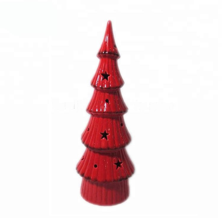 LED Lights Ceramic Red Christmas Tree for Home Decoration