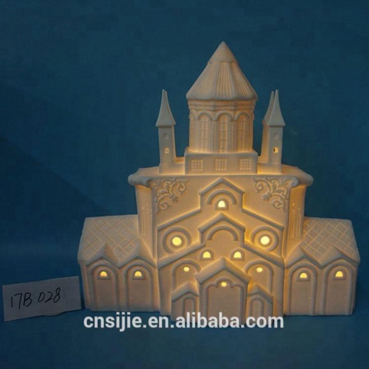 Unpainted porcelain castle ceramic christmas lighted village house