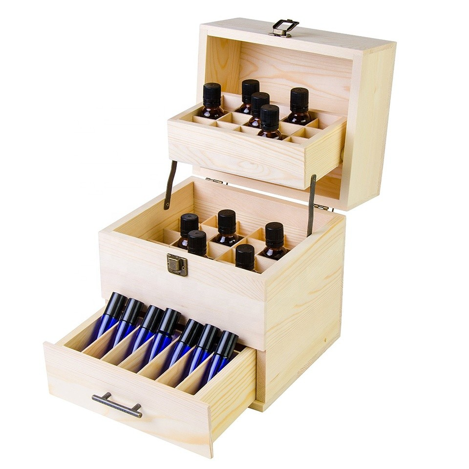 Hot sale customized fancy unfinished storage essential oil wood box