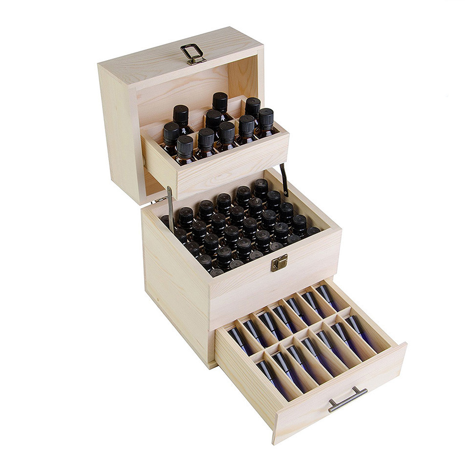 Gift packaging simple useful wood essential oil storage box with dividers