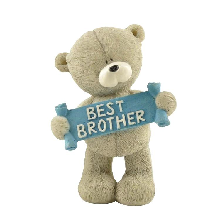 Wholesale Brother Gifts Polyresin Animal Bear Figurine with Letters