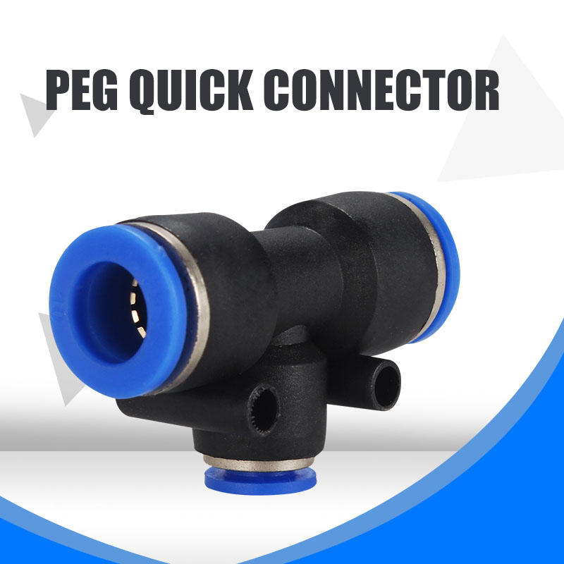 Air pipe connector T-type tee reducer Pneumatic quick plug quick PEG