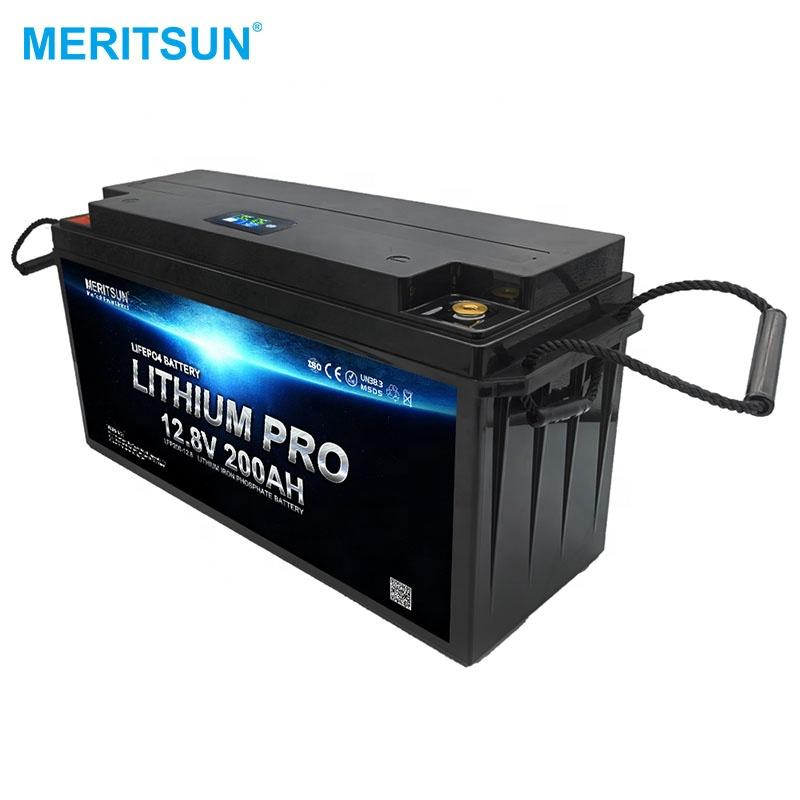 MeritSun 12V 120AH 150ah 200ah Li-ion Lifepo4 Lithium Batteries battery with LCD function