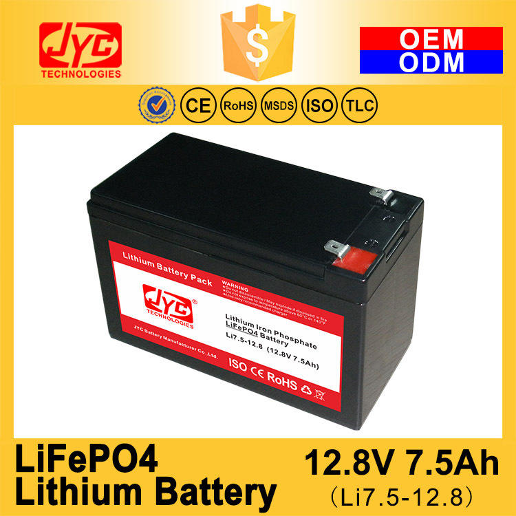 Small Lithium Ion Polymer Lifepo4 Lipo Battery Pack Cycle Life >2000 Cycles @1C 100%DOD 12.8V 7.5ah Li-polymer