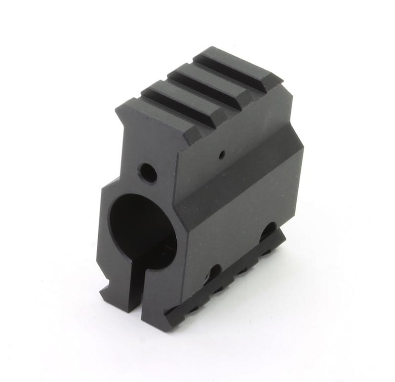 Hardcoat Black Anodized Aluminum Gas Block with Rail CNC Machined Accessories Part
