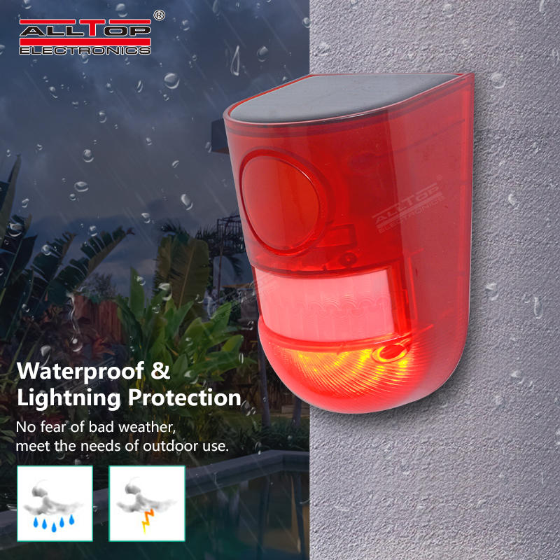 Cheaper price PIR motion sensor outdoor wireless security alarm system 129db loud siren solar home alarm security wall light