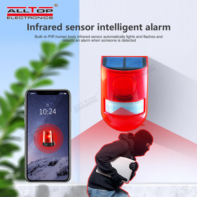 ALLTOP Wireless Solar Alarm With 129db sound Siren For Home Security Alarm System