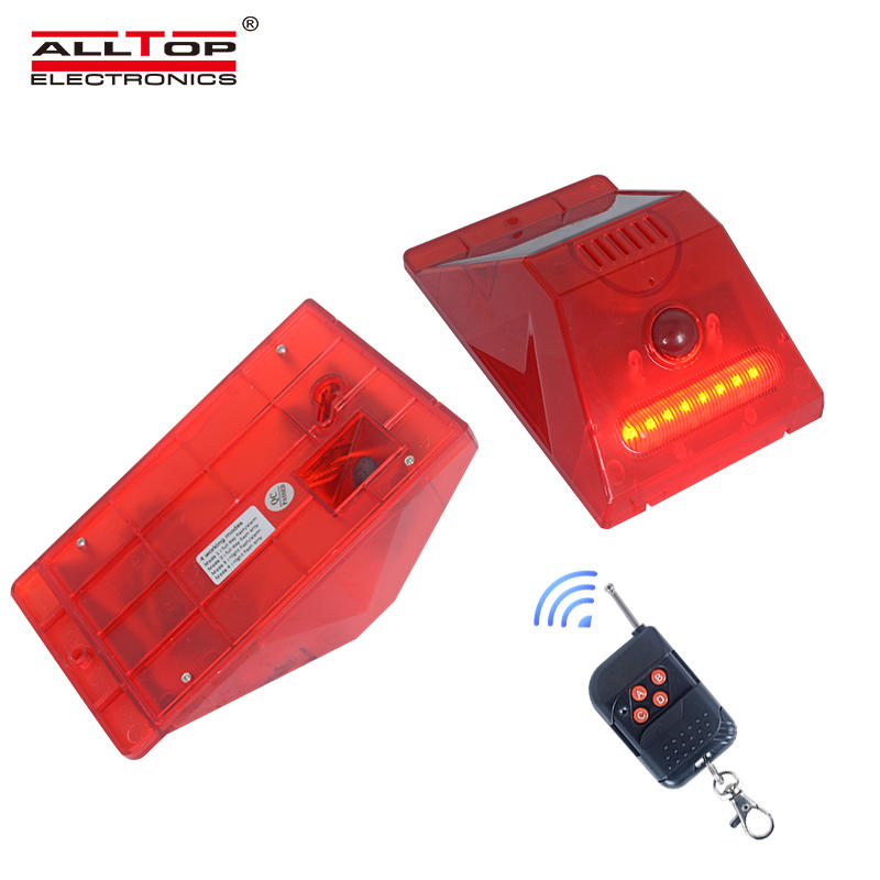 ALLTOP Outdoor ip65 waterproof sensor home security alarm system remote control led solar alarm