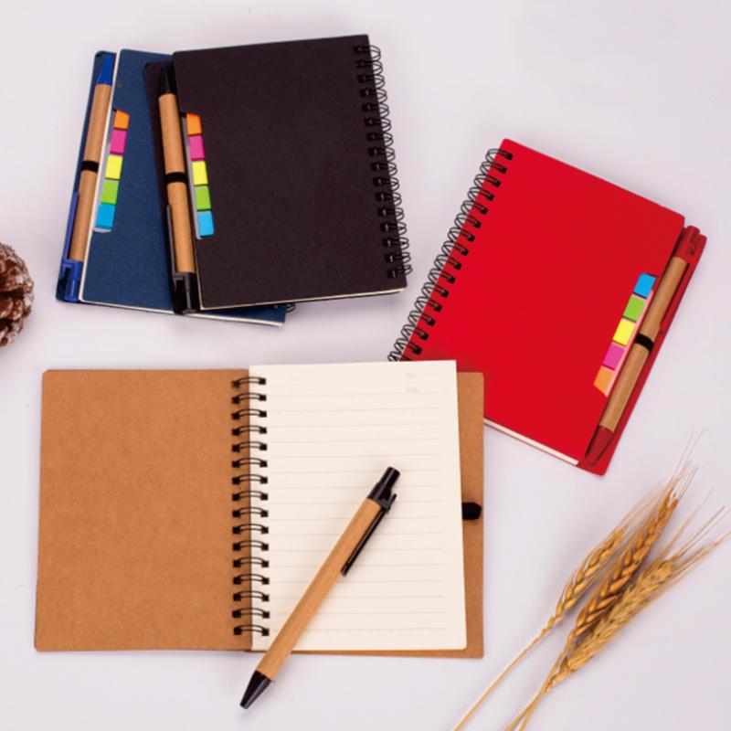 product-Dezheng-Journals Custom Logo Notebook, High Quality Kraft Cover Spiral Notebook with Pen Hol-1