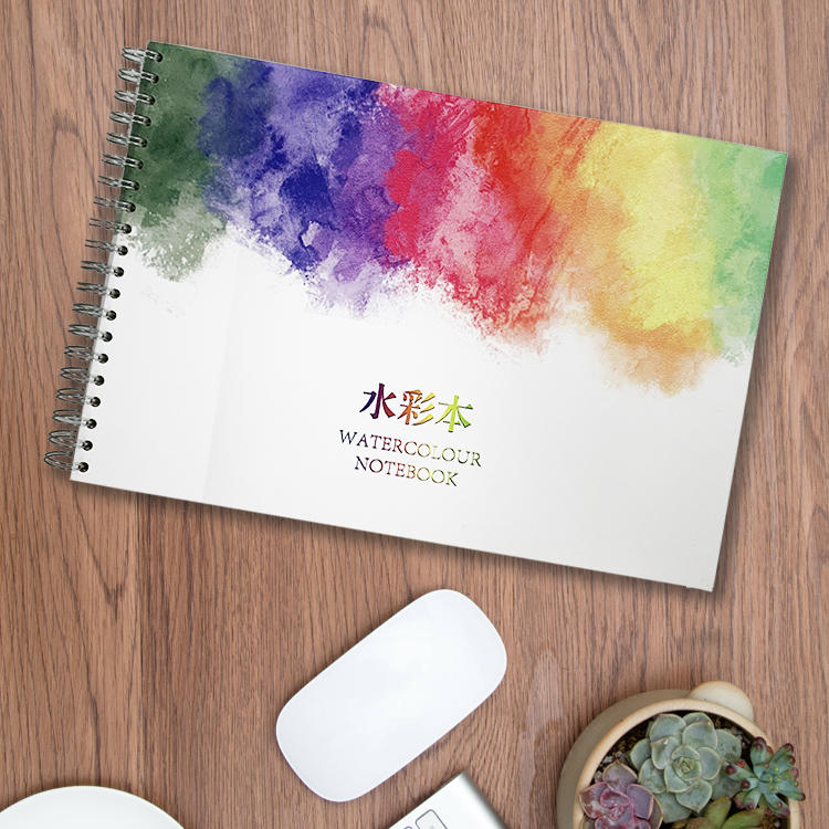 Imported watercolor paper 300gsm different sizes spiral bound hardcover watercolor book with pad