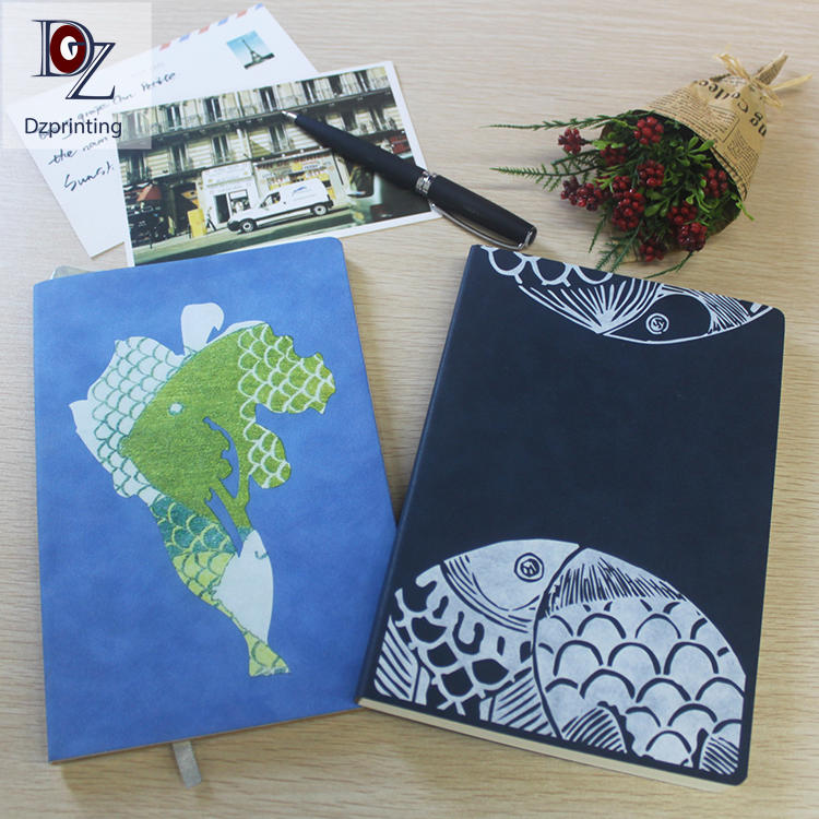 Original design customized a5 printing soft cover pu leather notebook with logo