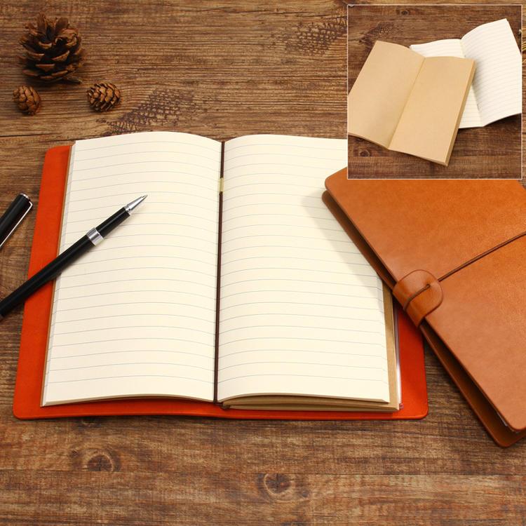 product-Custom blank trip planner notebook journal gift set travelers notebook refill pu leather pri-2