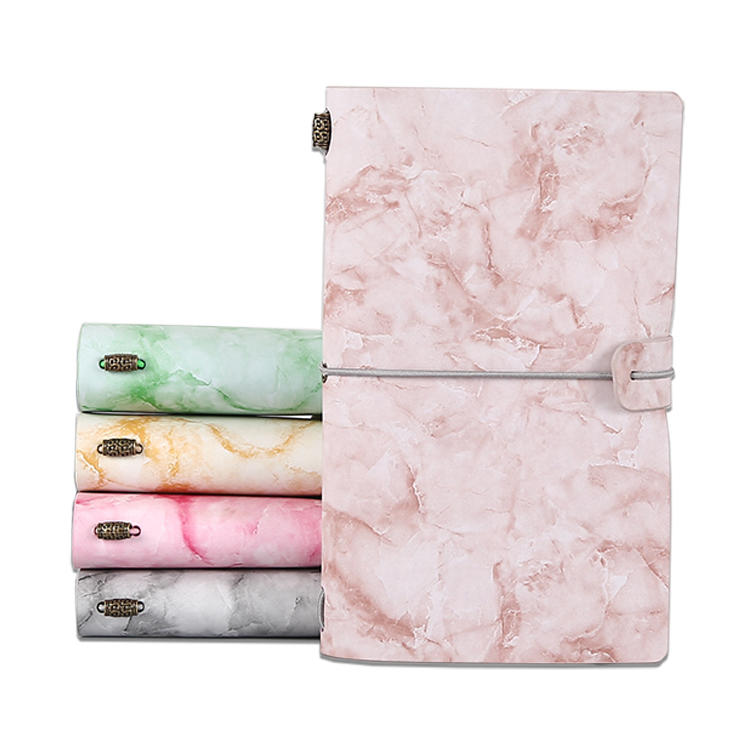 product-Marble pattern personalized refillable soft cover travel journal planner notebook genuine le-1