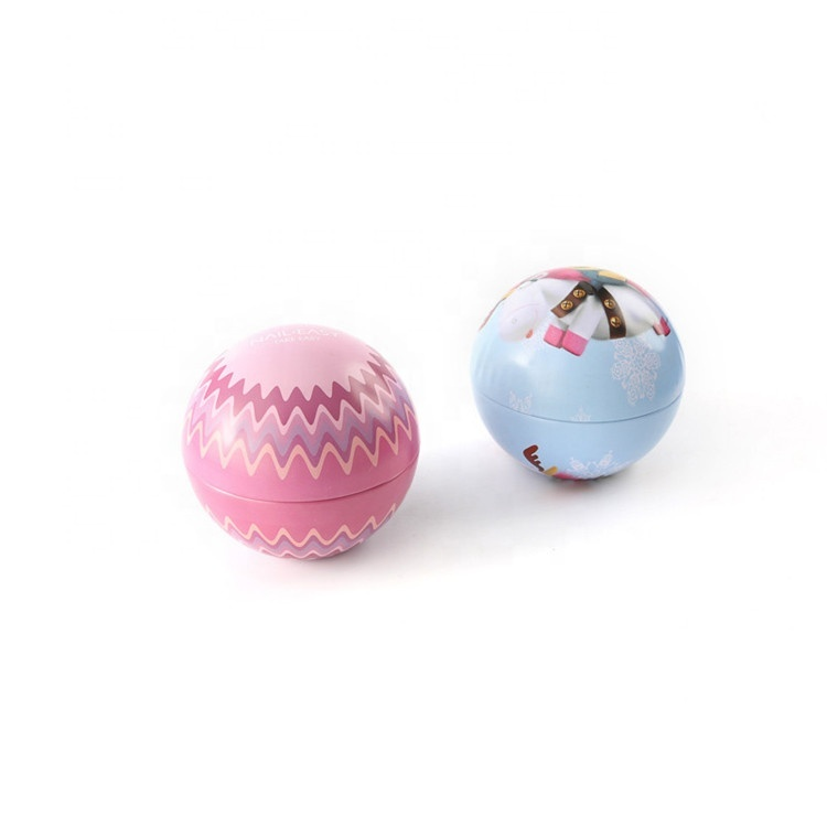 Hot Sale Gift packing tin ball, customized design with three size, cosmetic packing