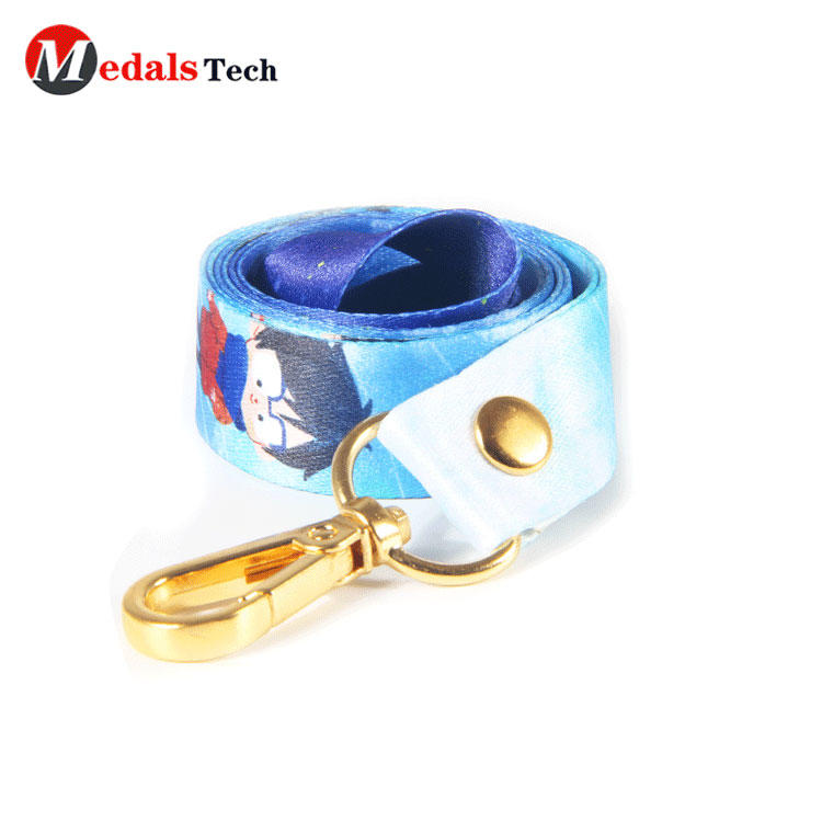 100% polyester high quality plain oem color lanyard