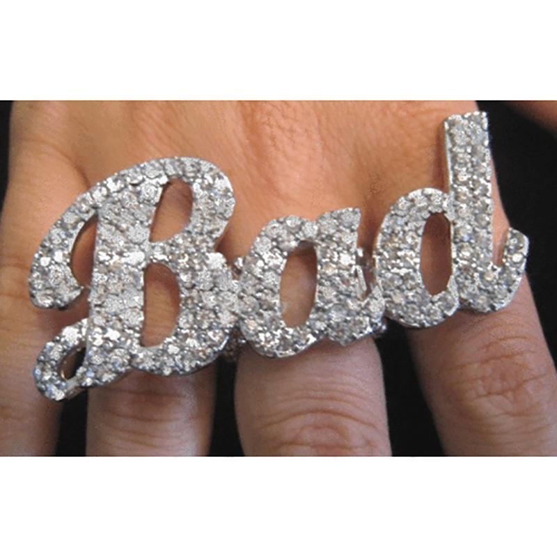 Custom Design Glitter CZ Bad Ring Glitter Jewelry Bad Jewelry