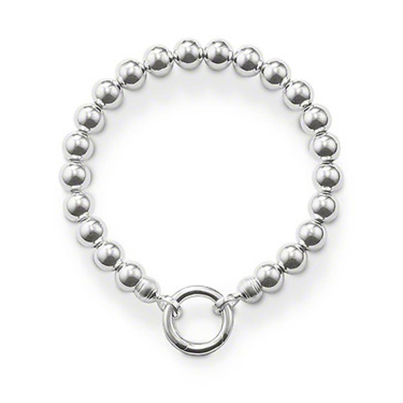 Shiny simple design 925 silver european beads bracelet