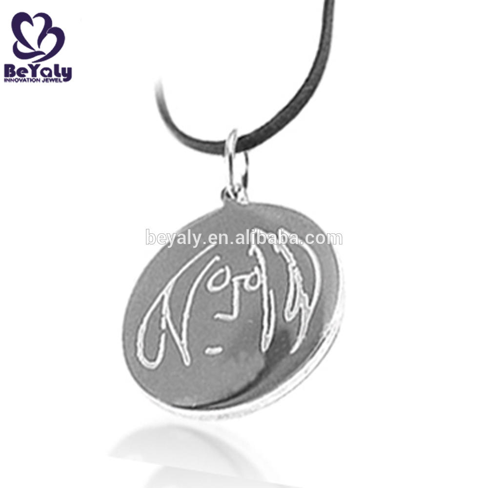 Round engraved discount custom stainless steel pendant