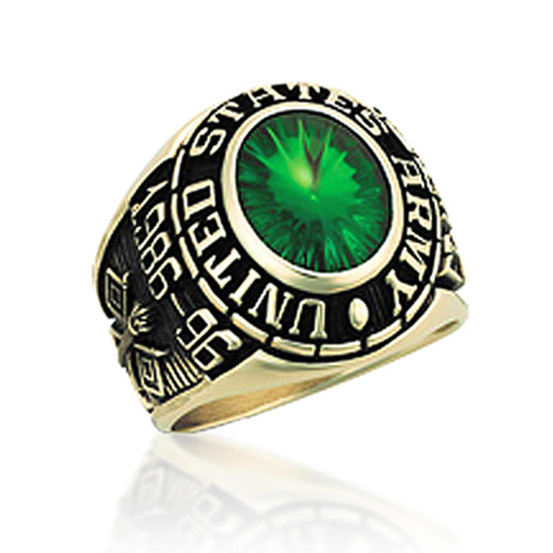 1986-96 US army ring with green zircon for military fans