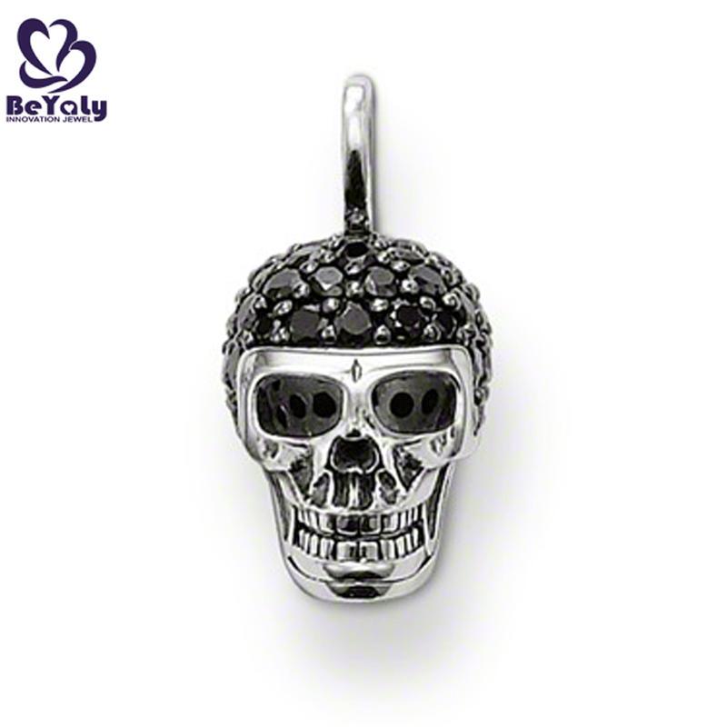 Special silver skull design delicate black tourmaline necklace