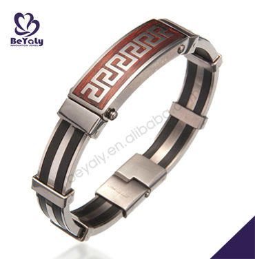 Classical design ss greek bracelet with greek word for men