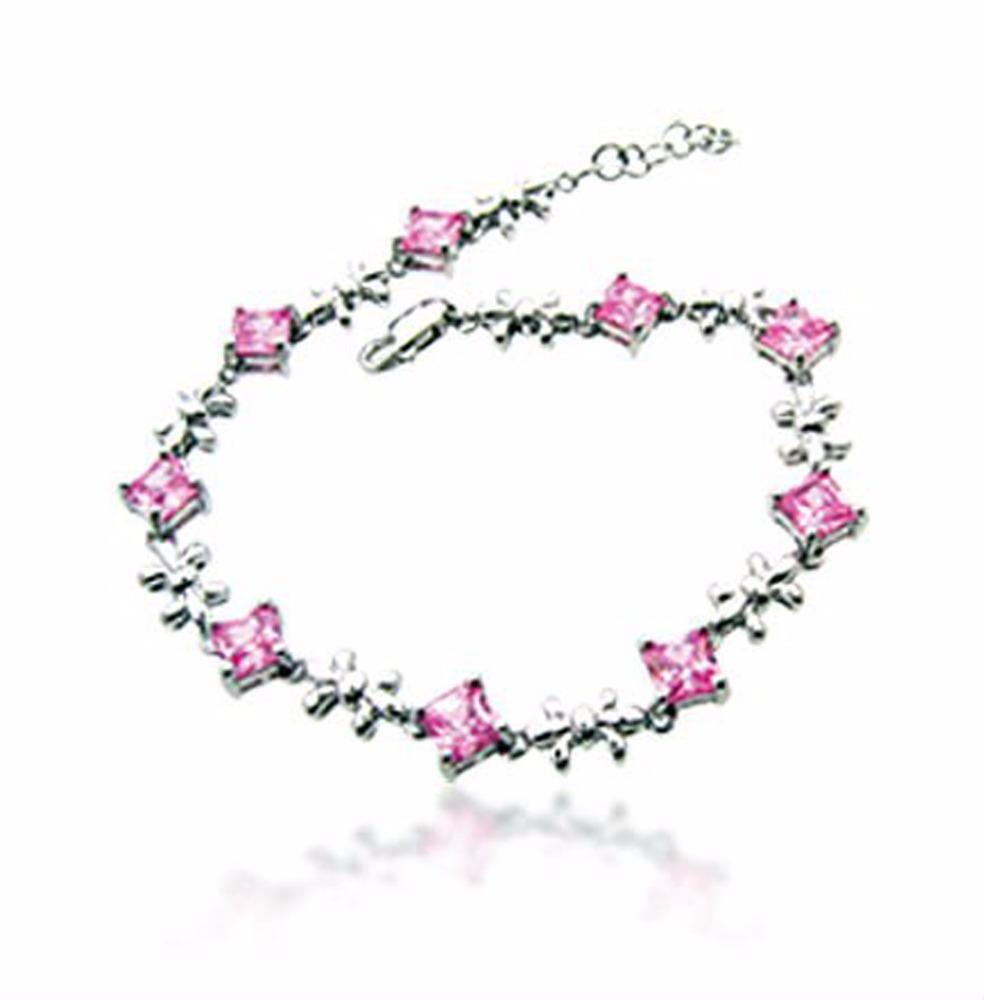 Pink flower zircon design silver wholesale anklet bracelets