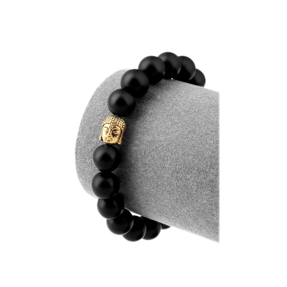 Buddha head design black beads ceramic bangles