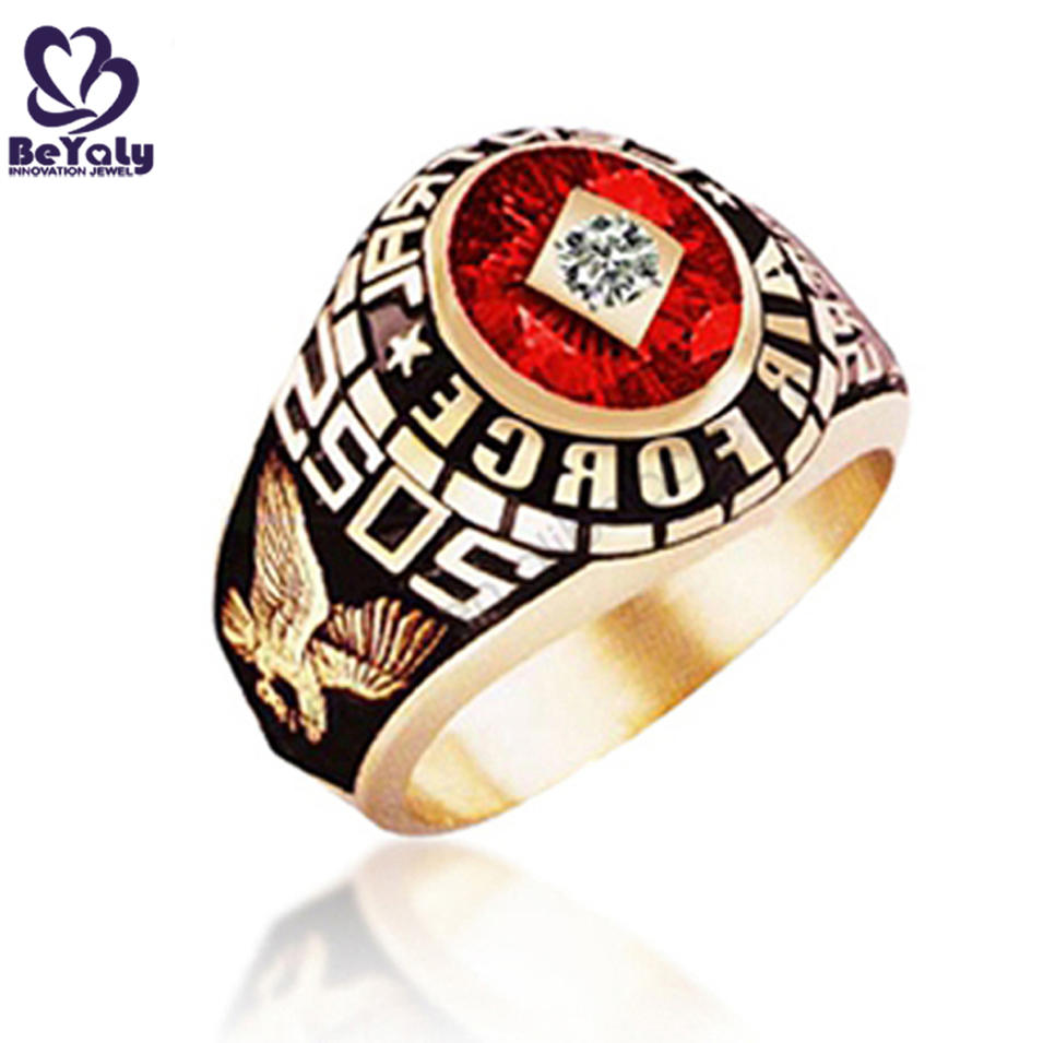 Custom design red enamel Air Force SOS military 24 carat gold rings