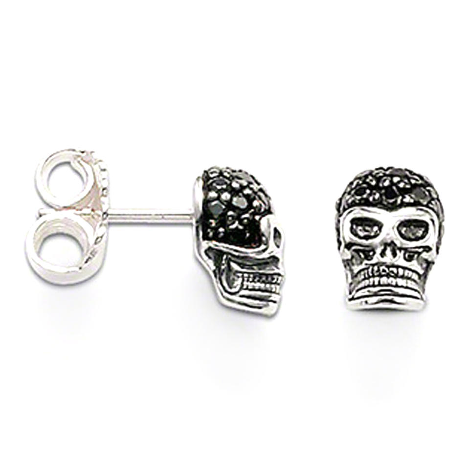 Cheap engraved black cz skull design silver boy earrings