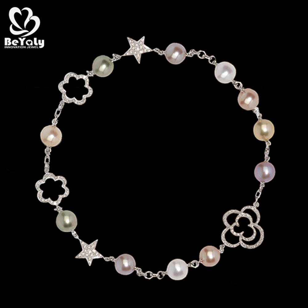 Star and clouds design sterling silver pearl jewelry