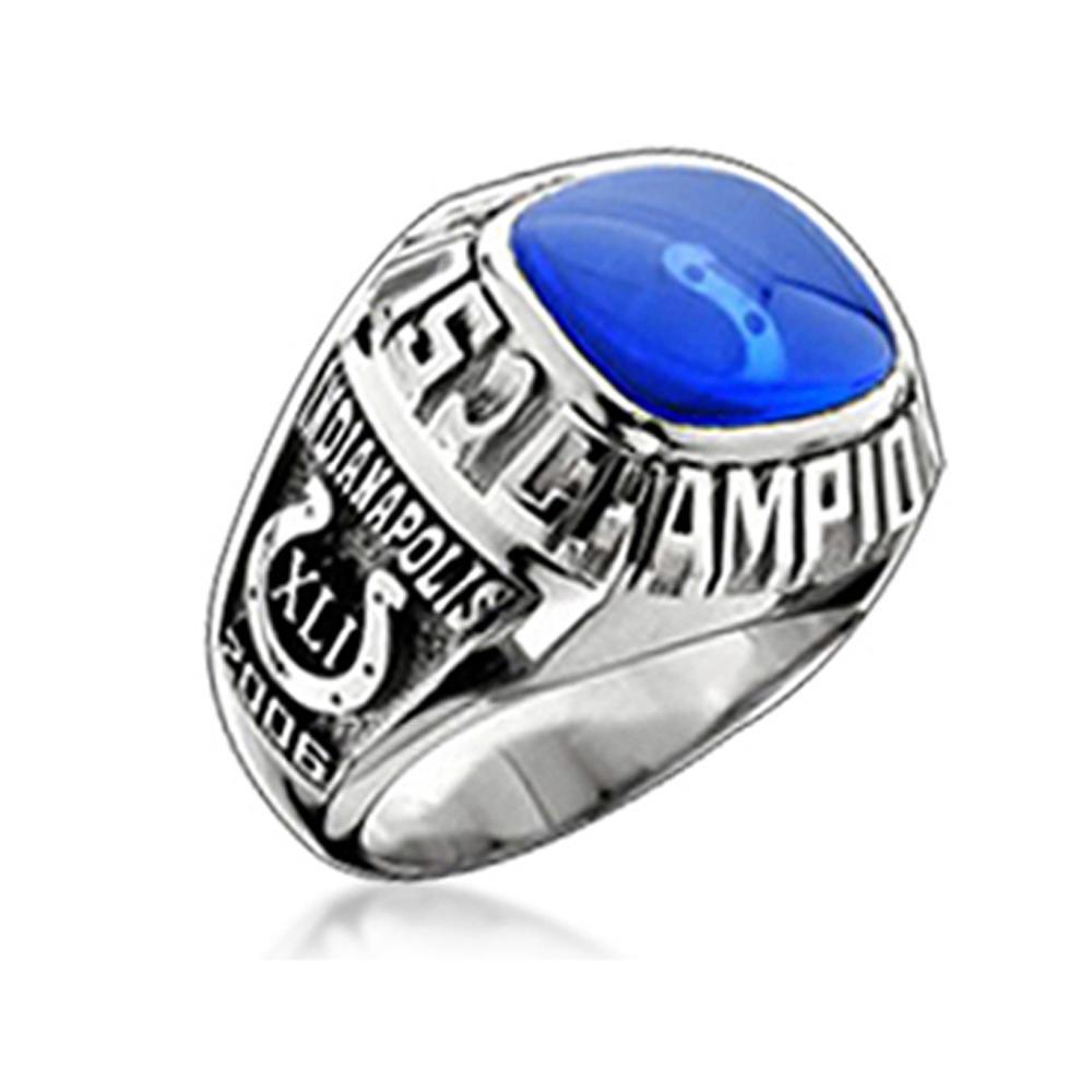 Blue Enamel Custom Signet Boxing Championship Rings