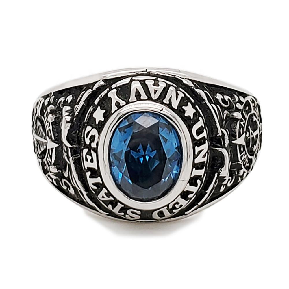 High school custom student aquamarine ring silver