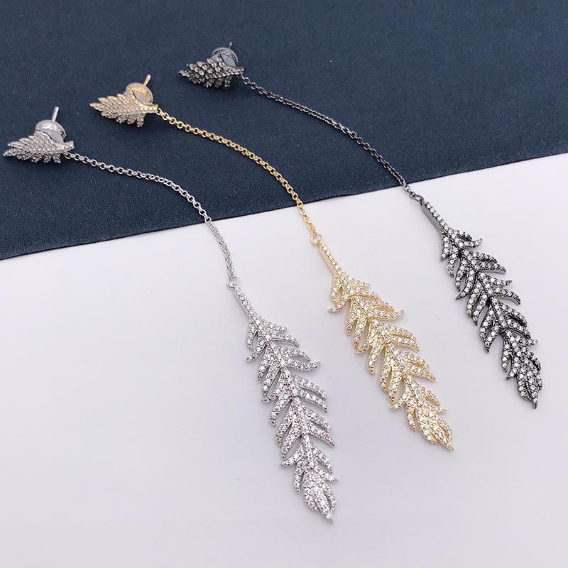 Female Bijoux Long Feather Earrings, 925 Sterling Silver Feather Tassel Earring