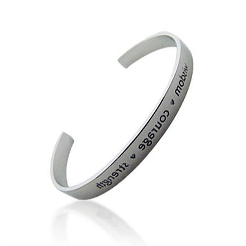 silver jewelry custom engraving cuff bracelet bangle