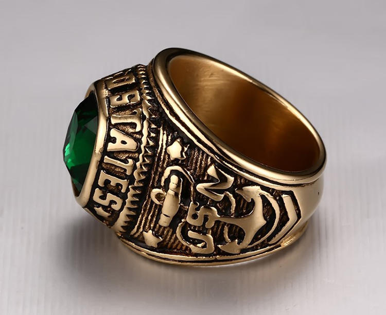 American army navy ring with lively green gem as gifts for friends