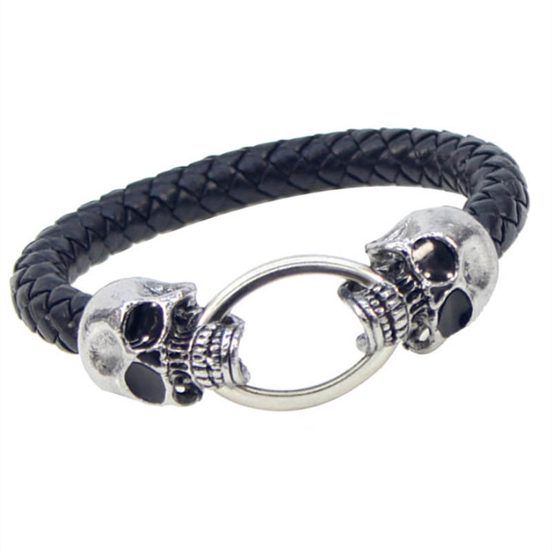Exaggerated Personality Punk Skull Woven Leather Bracelet For Men