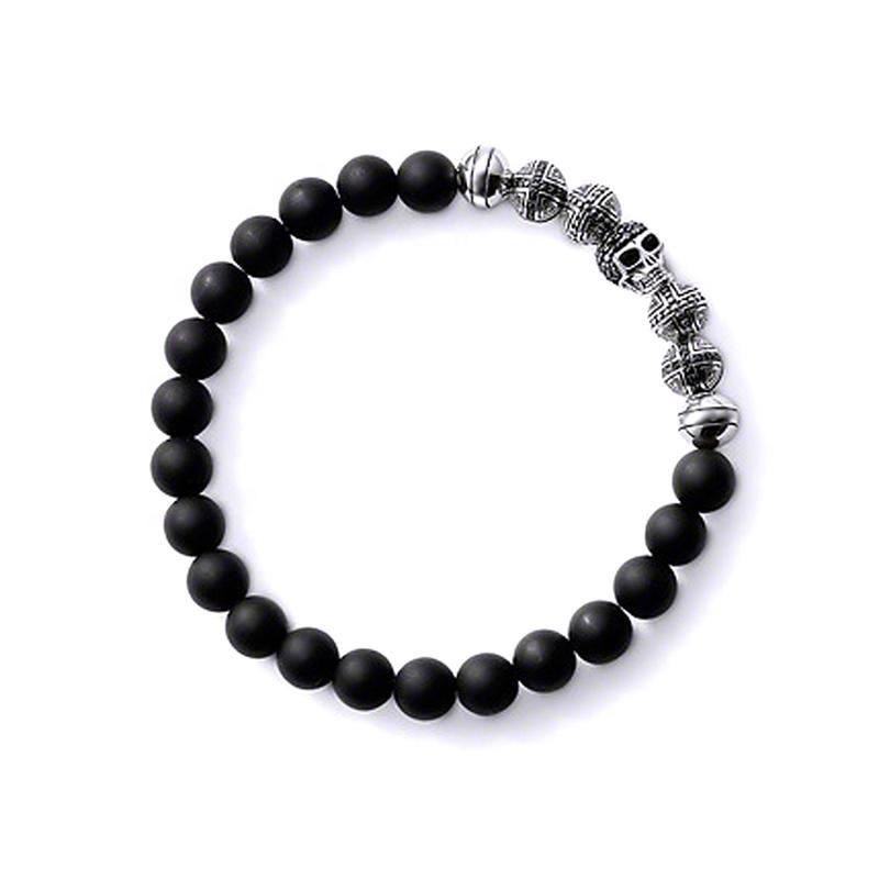 Black Beads Bracelet, Cross And Skull Design Bead Hand Bracelet