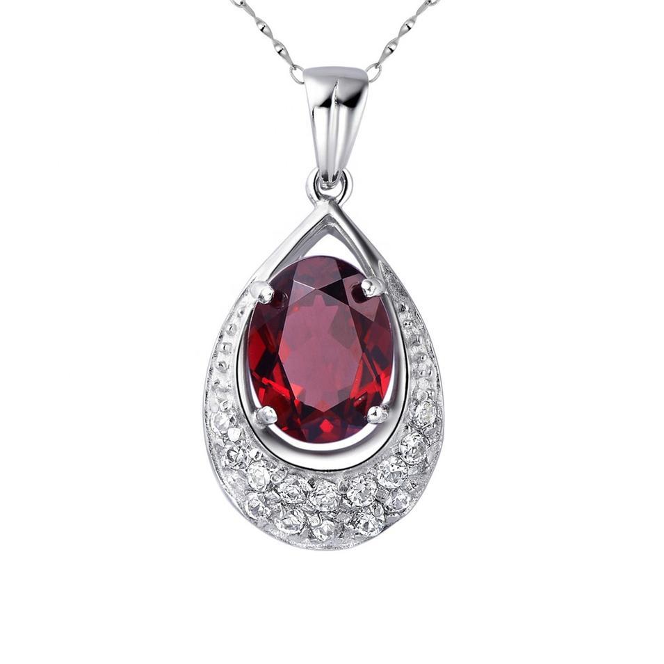 Red Zircon Waterdrop Design Silver Bijoux Moonstone Necklace