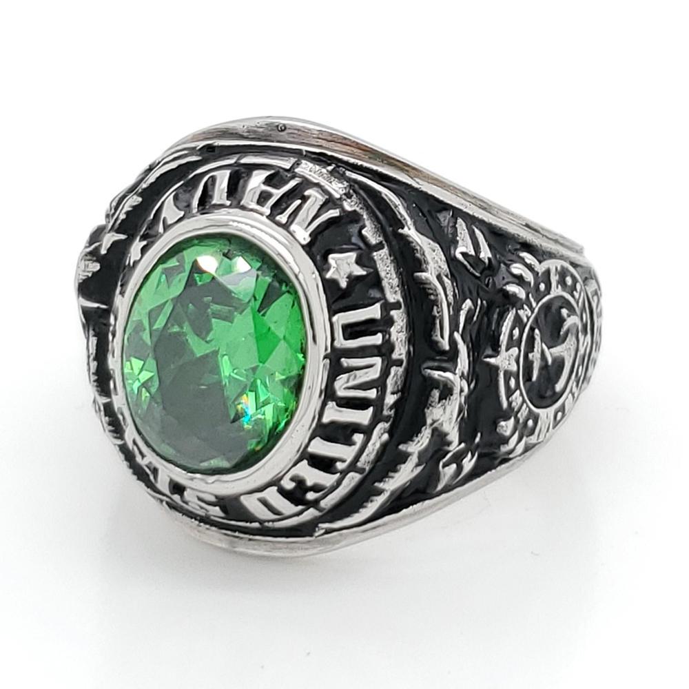 High Quality Black Painting Letter Custom Design Green Semiprecious Stone Rings