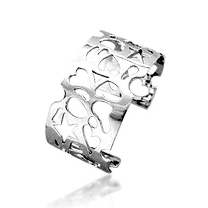 Hollow design fashion open-ended silver jewelry philippines
