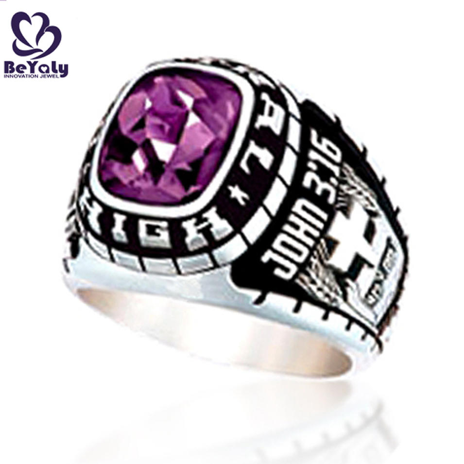 Imitation stainless steel purple stone college ring