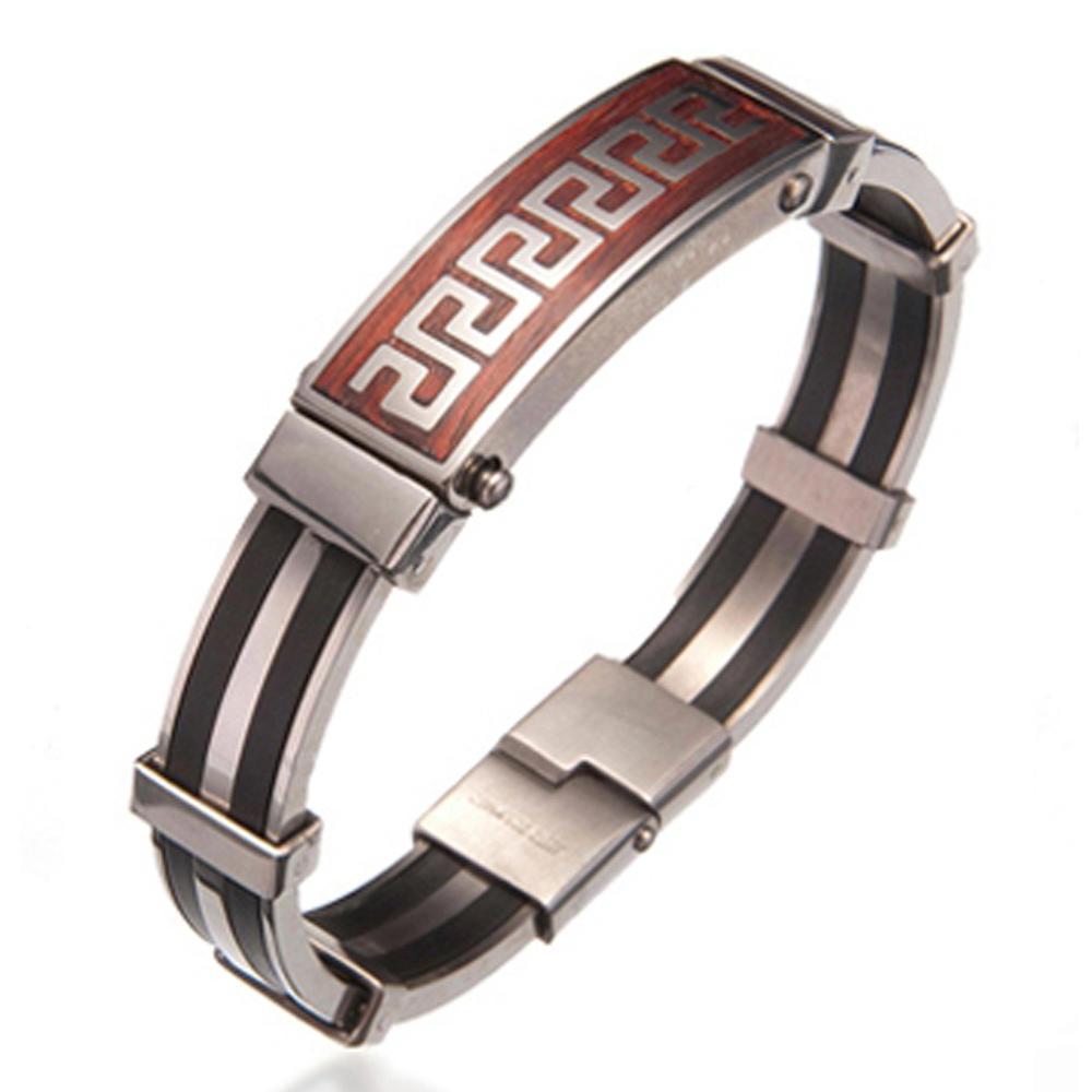 Classical design ss greek bracelet with greek word for men