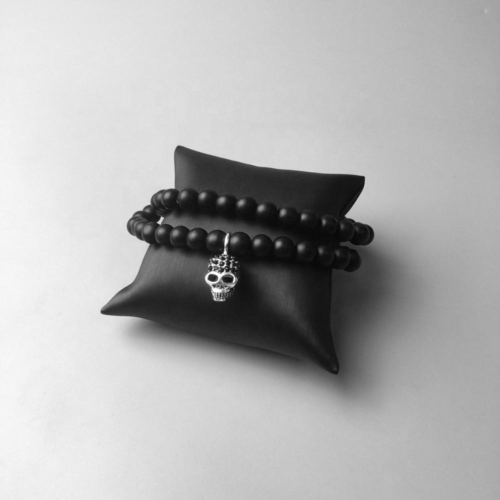 Black Beads Chain With Skull Custom Made Pendant