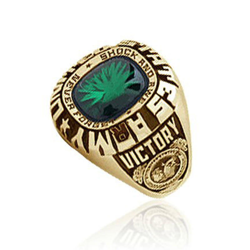 United State Army Victory brass turkish rings emerald
