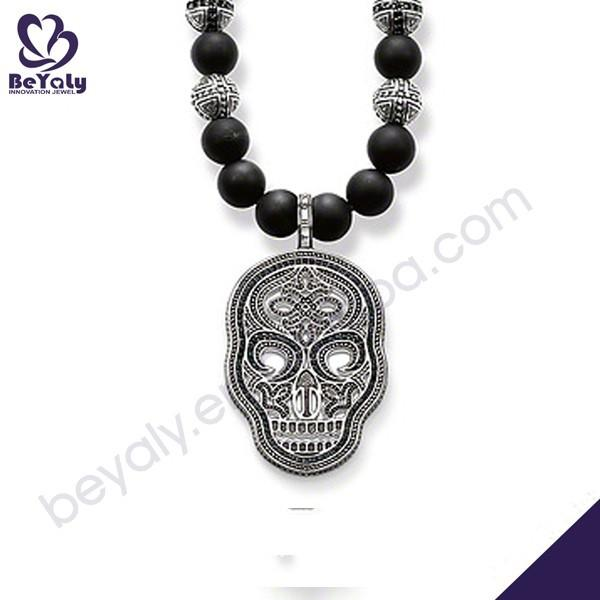 Rosary chains skull design silver baseball jewelry for men