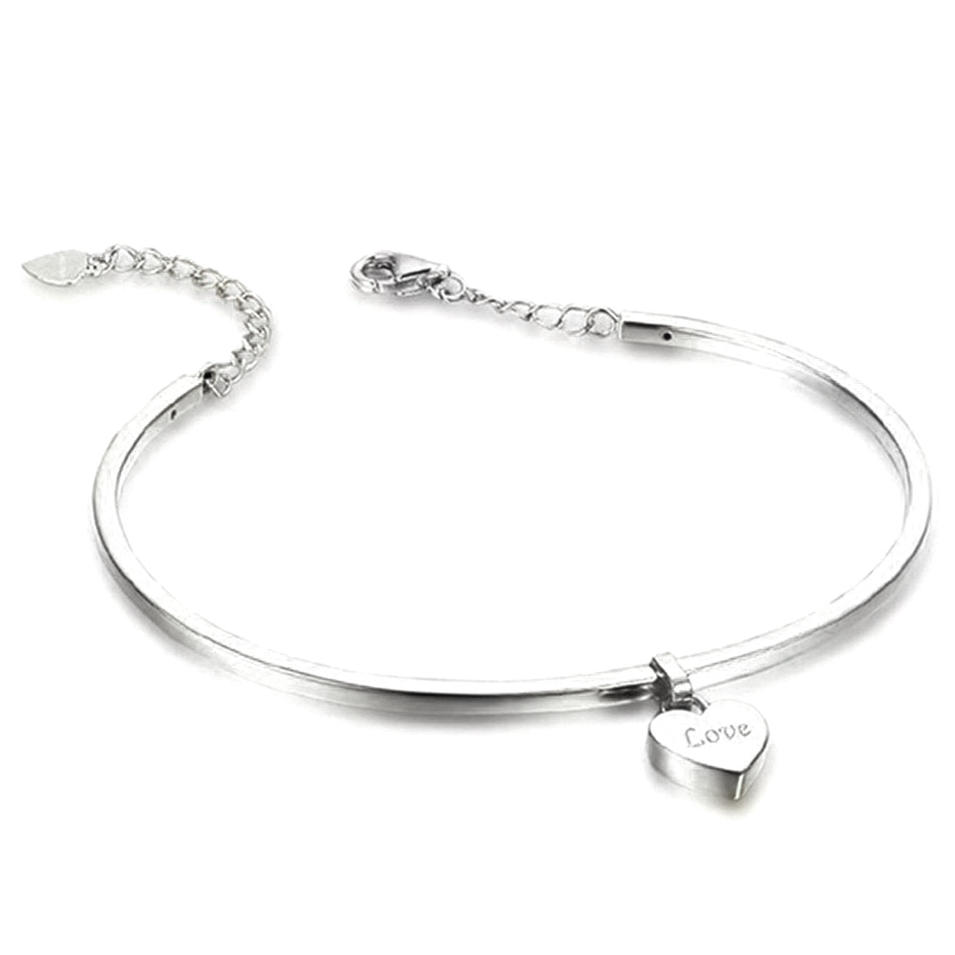 Comfort fit heart design 925 sterling silver charms jewellery bracelets