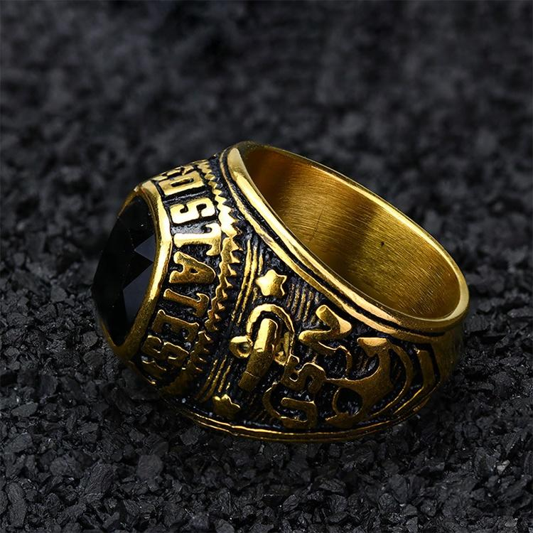 High quality gold plated signet custom silver ring