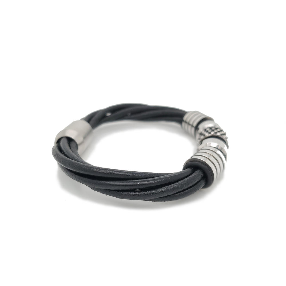 Stainless Steel Beads Design Wholesale Fashion Leather Cuff Bangle